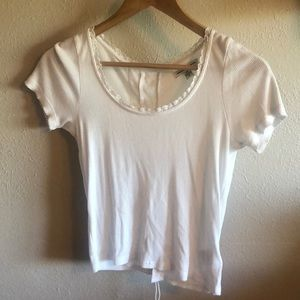 American Eagle Outfitters White Cropped Tee Sm